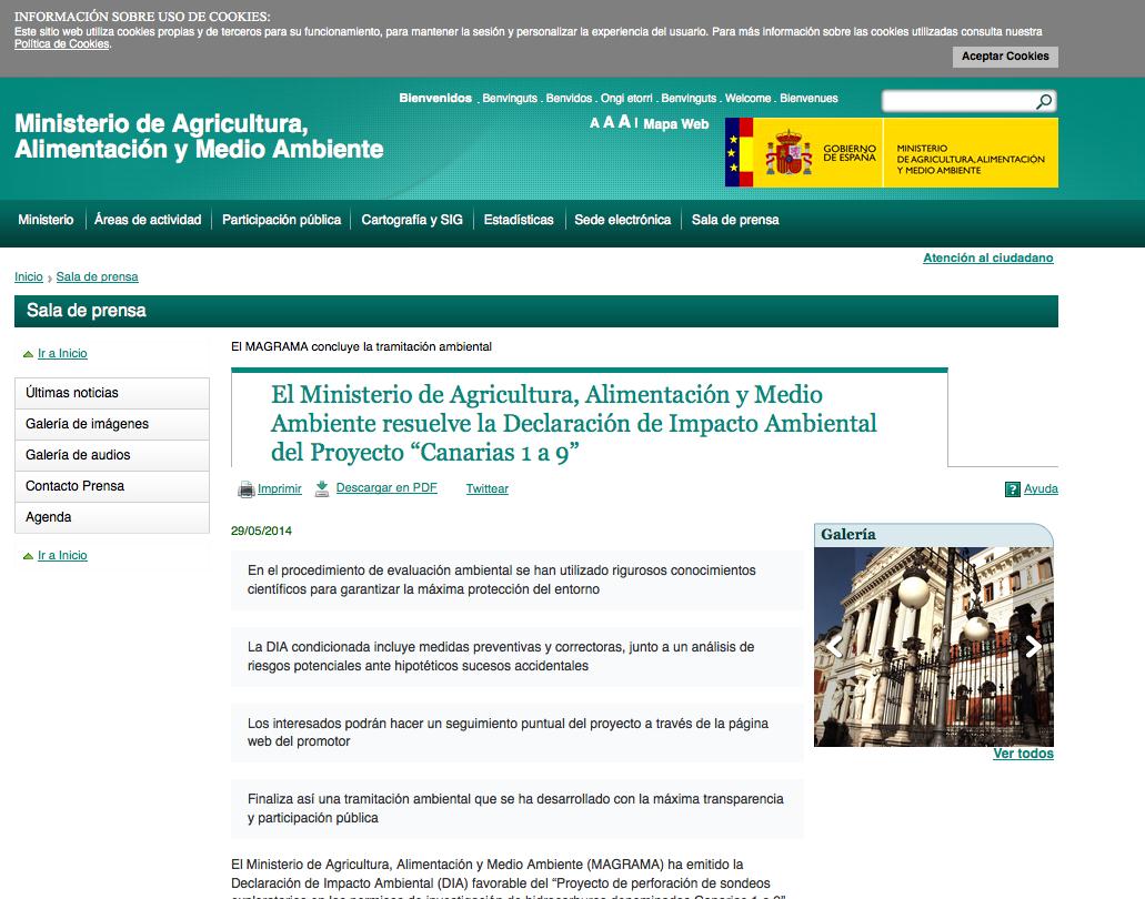 """MAGRAMA resuelve favorablemente  la DIA del Proyecto """"Sondeos exploratorios marinos en Canarias"""" cuyo EIA ha sido elaborado por Alenta"""